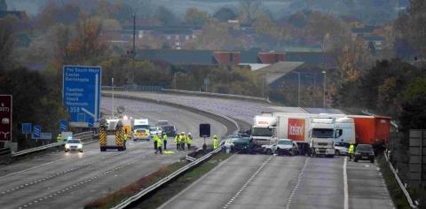 The scene the morning after the fatal M5 crash