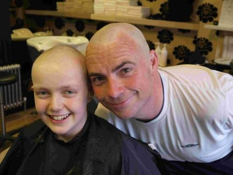 Bridgwater Mercury: Libby with her uncle Bob Abrams, who shaved his head for charity when Libby was losing hers through chemotherapy