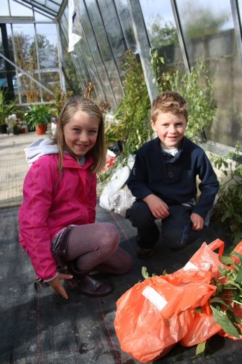 Enthusiastic young gardeners Beth and Toby Kirkham, of Sutton Mallet, attended the event with their parents. Photo: Submitted