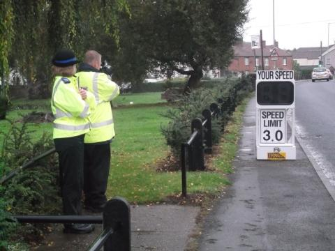 Police performing a speed check