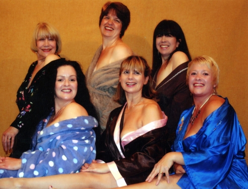 Featuring in Blake Drama Club's cast of Calendar Girls are (rear, from left) Mary Winning, Margaret Hudson  and Lindsey Cran with (front) Martine Davies, Suzanne Guppy and Sue Wand.
