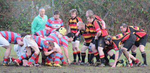 PHOTO: David Pomeroy - Bridgwater & Albion 3rds lock horns in the scrum with Cheddar Valley
