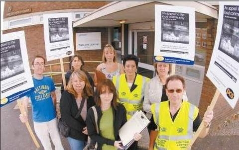 FLASHBACK: Campaigners protesting outside Bridgwater's tax office in 2008, when fears that it could close first surfaced.