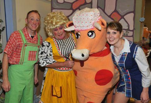 DARREN Oxman as Simple Simon, Keith Robinson as Dame Stoneybroke, the panto cow and Kim Pike as Jack