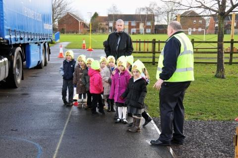 Children learned about the dangers of HGVs and were given high-vis hats.