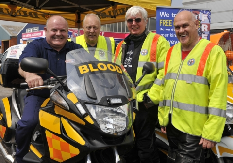 (From left to right) Managing Director of Autofit Motoring Centres, Paul Rogers with Freewheelers EVS volunteers Allan Roberts, Dave Hobbs and Richard Reeves. Photo: submitted.