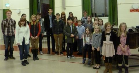 The children who performed the charity concert at Nether Stowey.