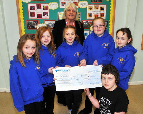 Members of A.C.T.S presenting a cheque for £4,000 to Maggie Barker from CLIC Sargent. Libby Heal