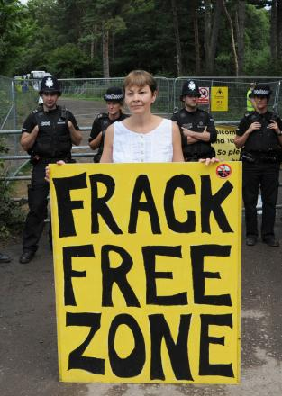 Protesters in action at a UK fracking site