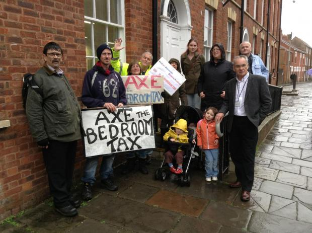 Protesters gathered outside Sedgemoor District Council offices appealing against Bedroom Tax