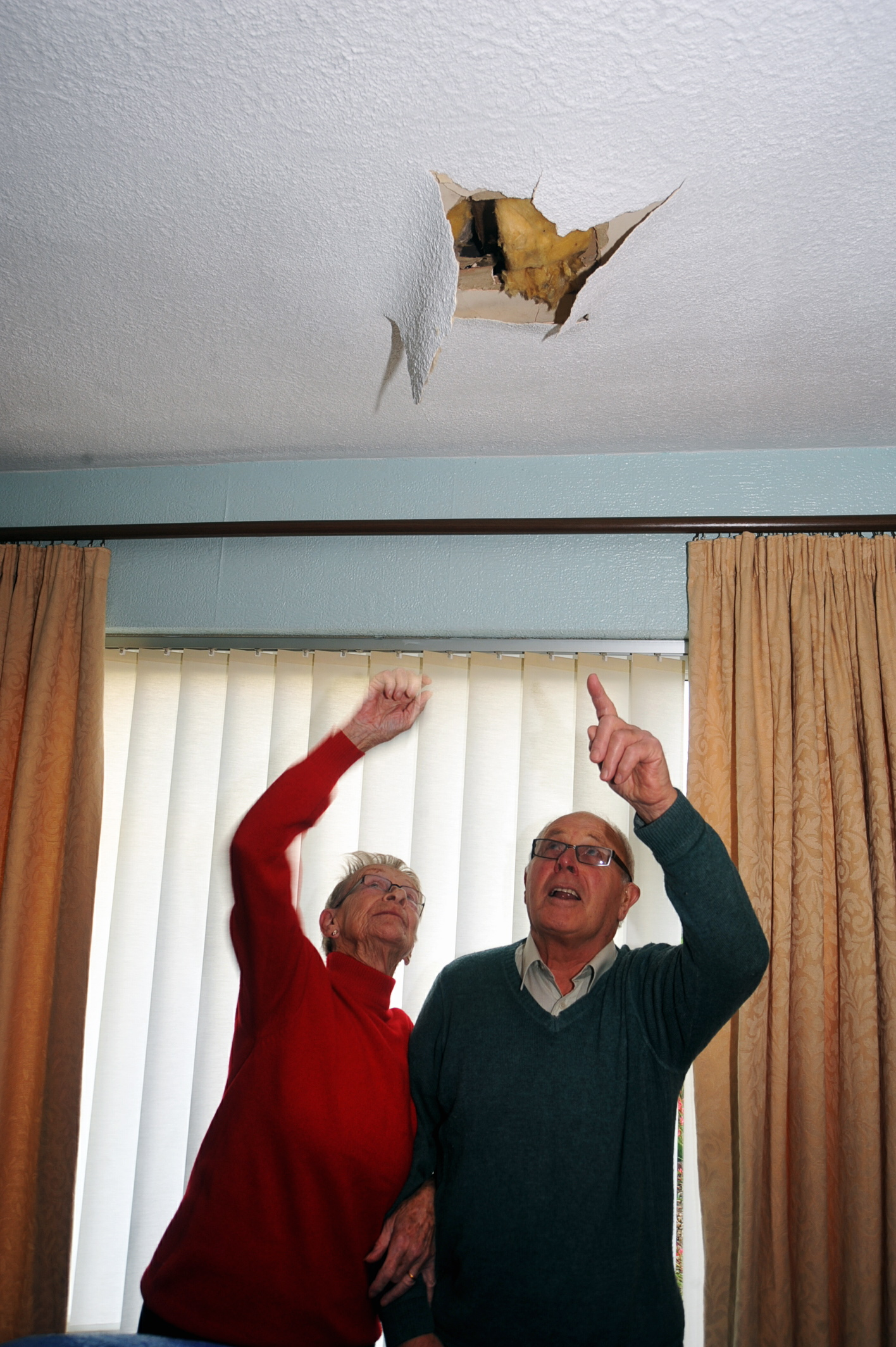 George Slade and his wife Jill had a hole in their ceiling over Christmas