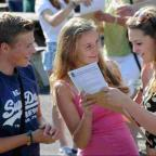Bridgwater Mercury: BRIGHT FUTURES: Successful Year 11 students receive their GCSE results at Thomas Hardye School