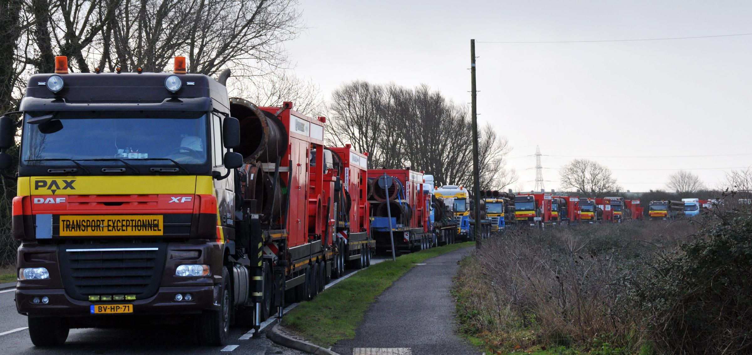 Lorries arrived in Dunball carrying the Dutch pumps.