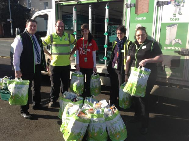 Staff from Asda in Bridgwater went to the rest centre with a small truckload of food.