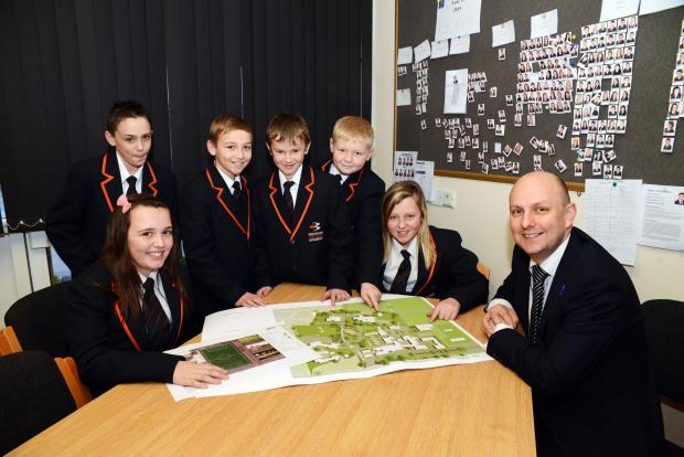 Calam Mignano, Thomas Adlam, Brandon Haddon, Charlie Bohot, Sophie Jordan and Leah Smith with head teacher Peter Elliott