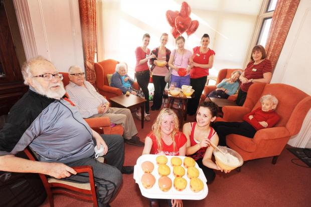 Rosary Nursing Home staff and residents in Bridgwater dress up in red