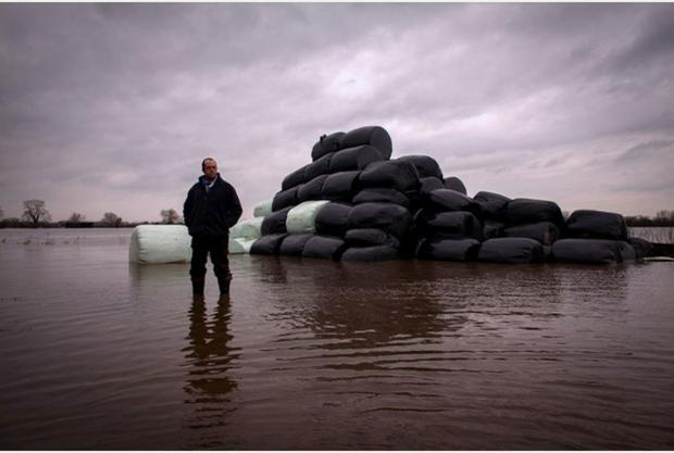 Farmer James Winslade has begun planting in his fields following the floods