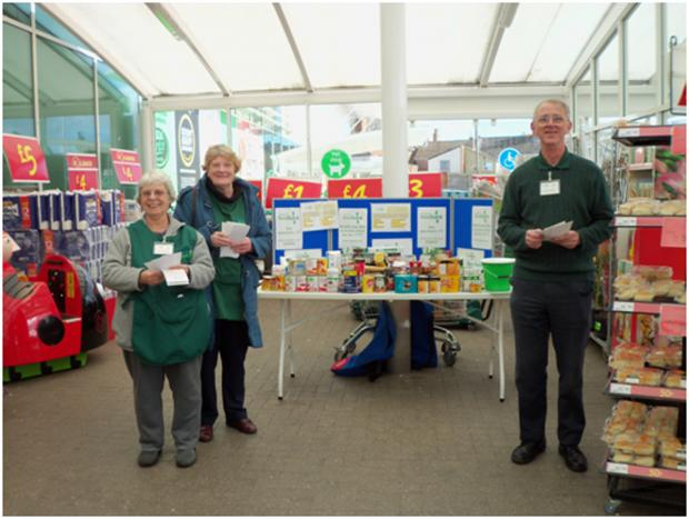 Foodbank volunteers Julia Connelly, Margret Rawlings and Tim Loveday were part of the team collecting food at ASDA Bridgwater.
