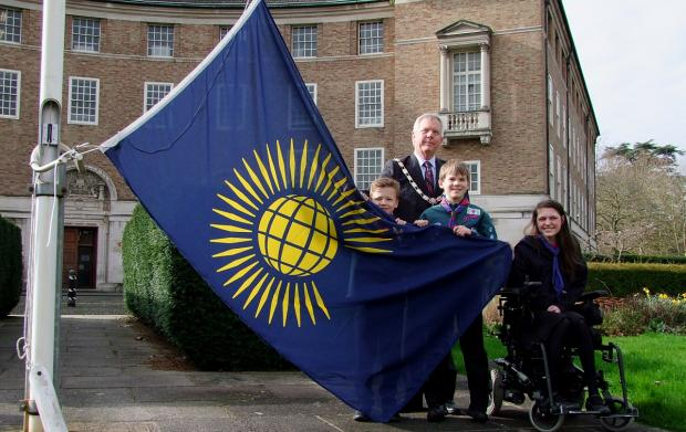 Cllr David Fothergill is pictured with members of West Monkton Scout Group and Ruishton Guides.