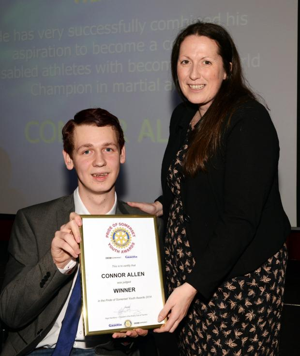 Bridgwater Mercury: CONNOR Allen receives his award from Tamsin Curnow, editor of BBC Somerset.