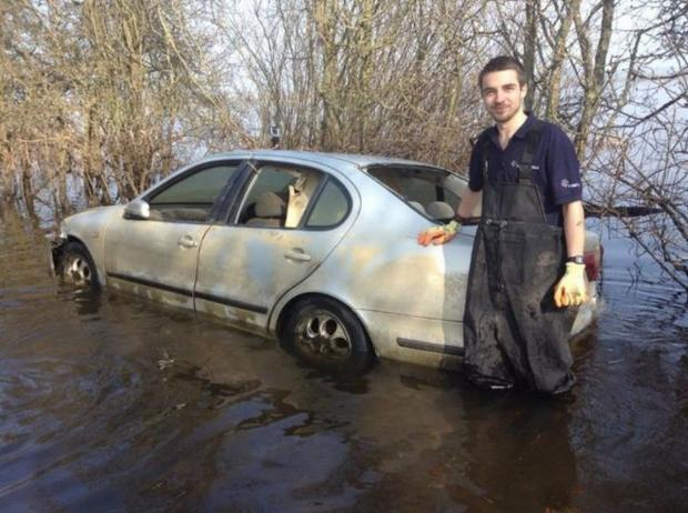 Bridgwater Mercury: Hubert with his car once the waters receded.