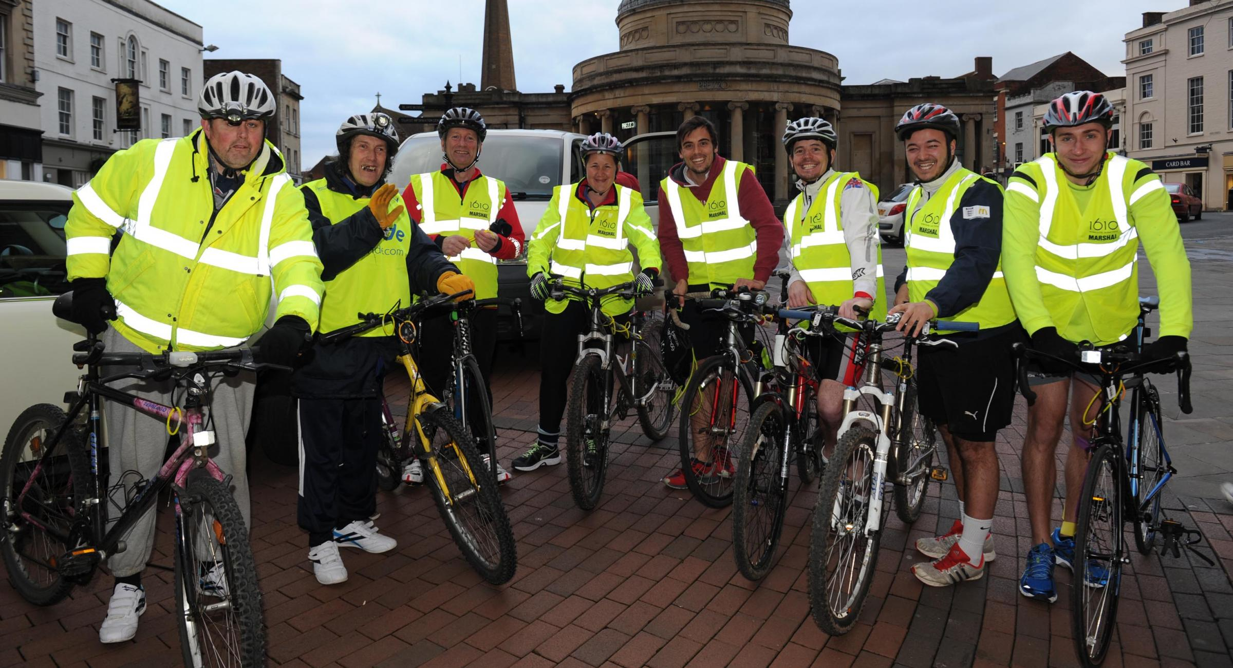 The cyclists ready for the Neon Bike Ride in Bridgwater