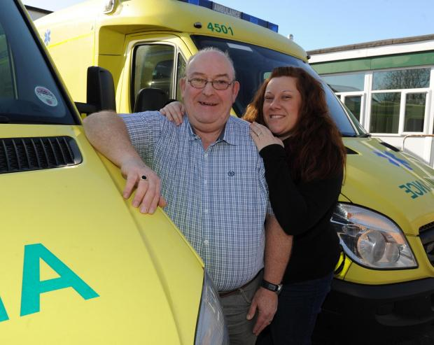 Bridgwater Mercury: Tony Stokes, retiring from ambulance service after 41 years, with his daughter Sarah Hooper
