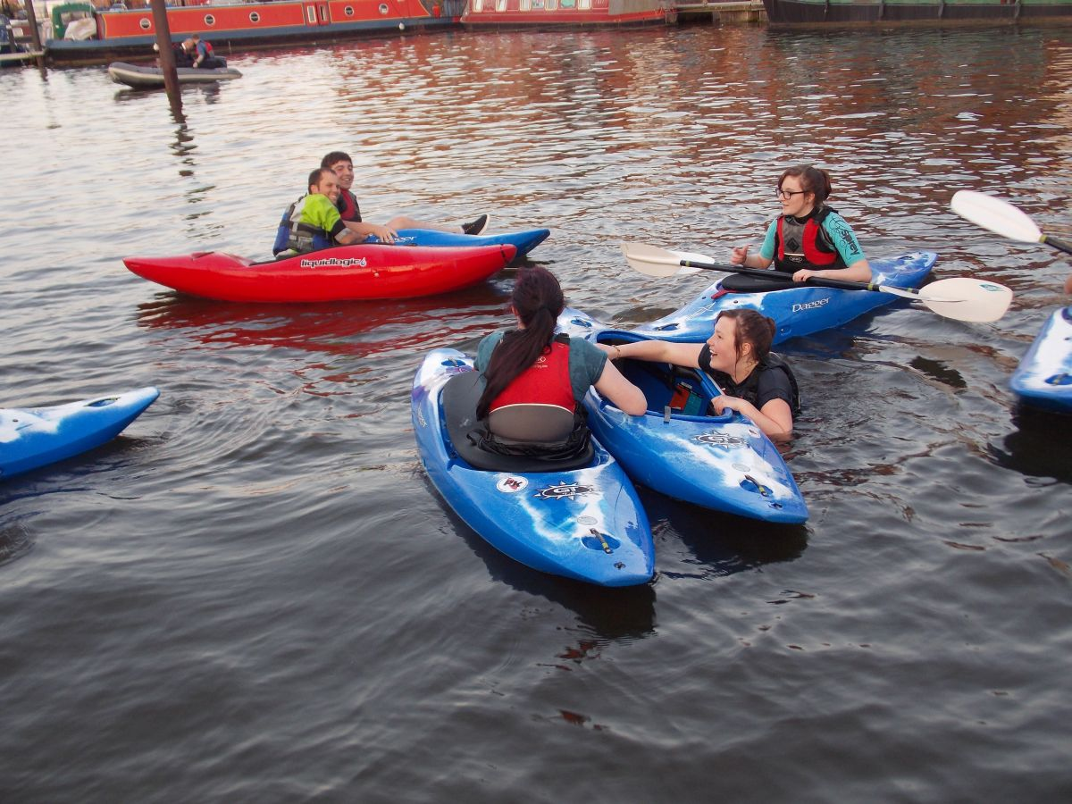 Man overboard as the Bridgwater Sea Cadets practice kayaking