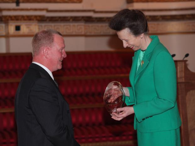 John Elliott receives the award from HRH The Princess Royal