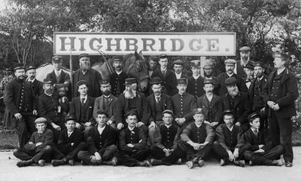 RAILWAY workers at Highbridge Station C. 1910.