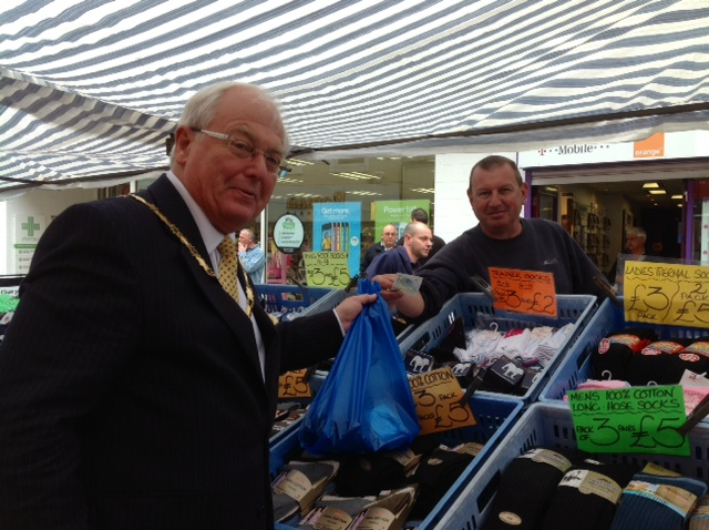 Chairman of Sedgemoor District Council, Cllr Peter Downing, shopping at Castle Market. Photo: submitted.