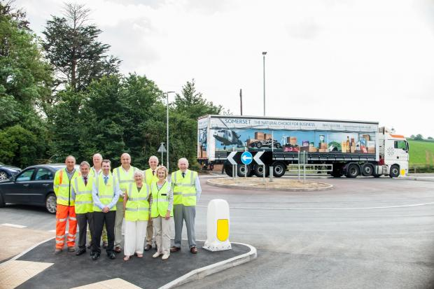 Bridgwater Mercury: The official opening of the Sandford Hill Corner roundabout. Photo: submitted.
