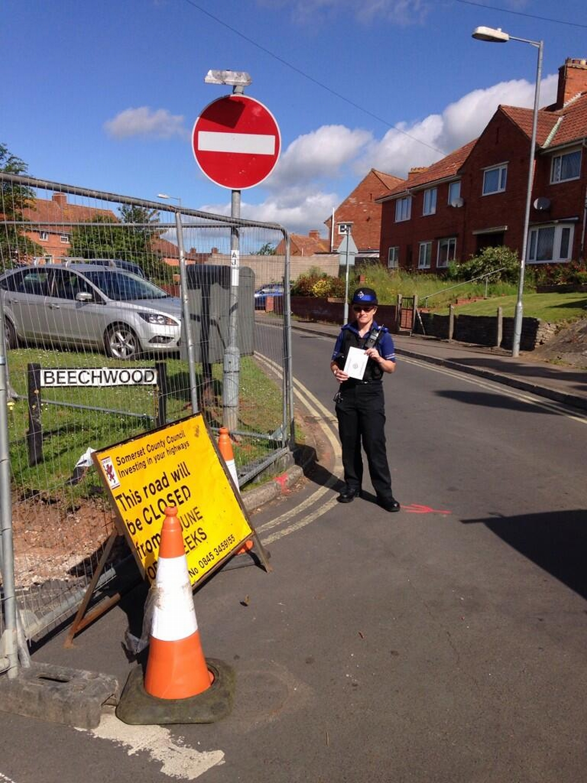 PCSO Sarah England by the closed off area. PHOTO: ASPolice