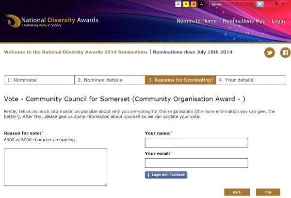 VOTE to nominate Community Council for Somerset for award