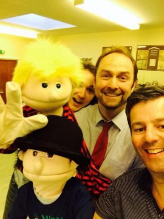 PINSTRIPE Productions' actors-turned-puppet masters Josh Fischer, Philip Cox and Edward Creswick in rehearsals.