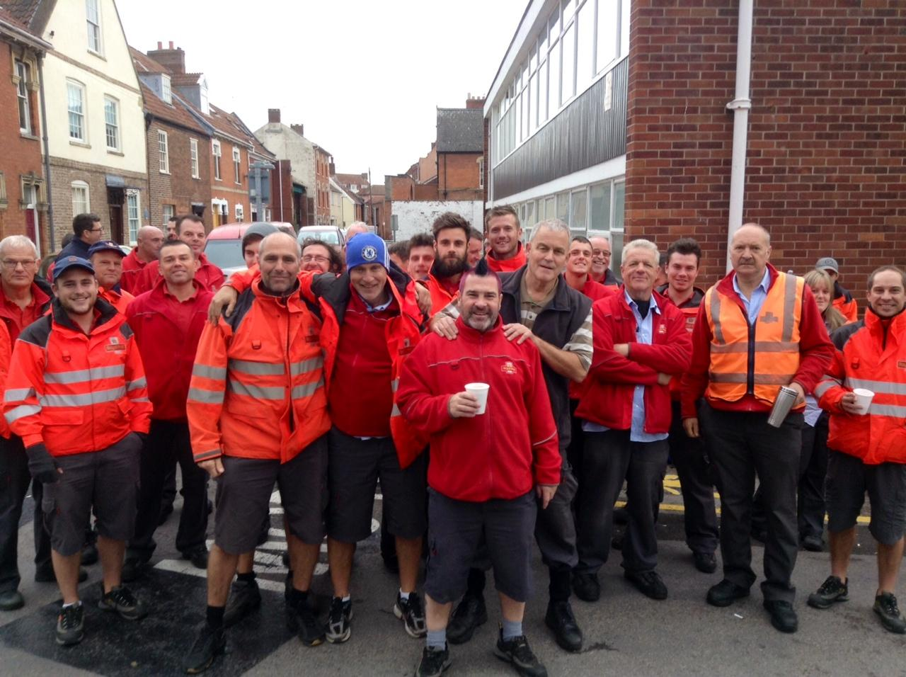POSTAL workers outside the Royal Mail depot in Friarn Street, Bridgwater.