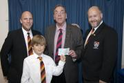 PHOTO: From left, Ben Branson (Vice Chairman, Youth Rugby), Ben Pomeroy, Cllr Loveridge, David Pomeroy (Chairman Youth Rugby).