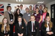 HAYGROVE Head of Careers Mrs Plece with David Dow and Jennifer Hollidge of Mulberry, Tom Whitlock from BET, Des Lynham from Army Careers, DHL's Michael Errington, Gill Knight of Job Centre Plus, Claire Tough from Homes in Sedgemoor and Haygrove students