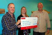 ORGANISERS Keith Rawle and Martin Sellick presenting the cheque to the Beacon Centre at Musgrove Hospital.