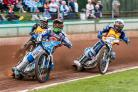 PHOTO by Colin Burnett - Somerset guest rider Nick Morris leading Plymouth's Kyle Newman and Roland Benko