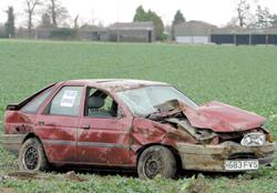 Bridgwater Mercury: Wrecked - a car in a field beside the A120 between Wix and Ramsey. Picture: TERRY WEEDEN (53807-1)