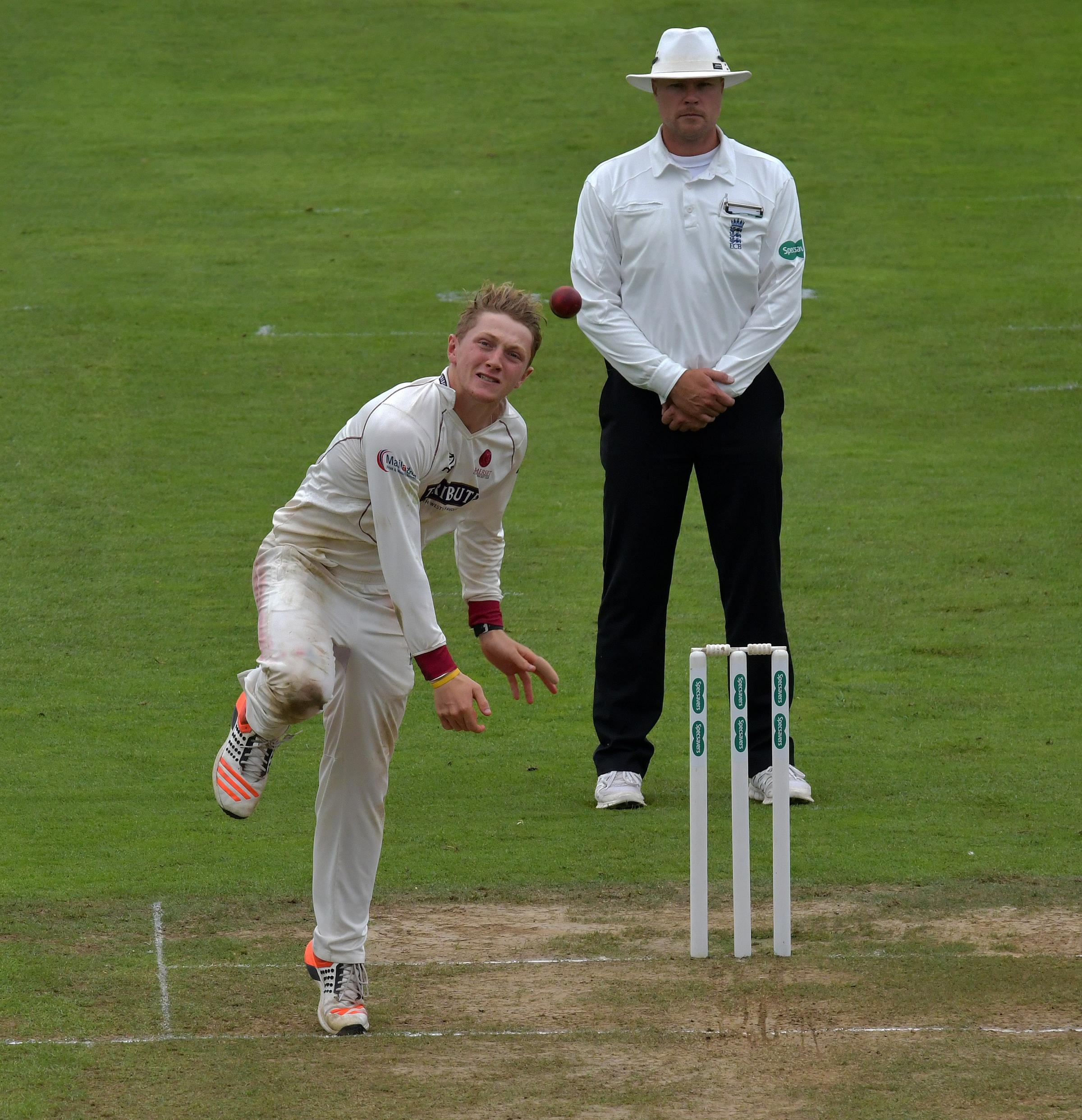 BREAKTHROUGH: Dom Bess picked up the key wicket of Dawid Malan on day three of Somerset's match with Middlesex in Taunton.