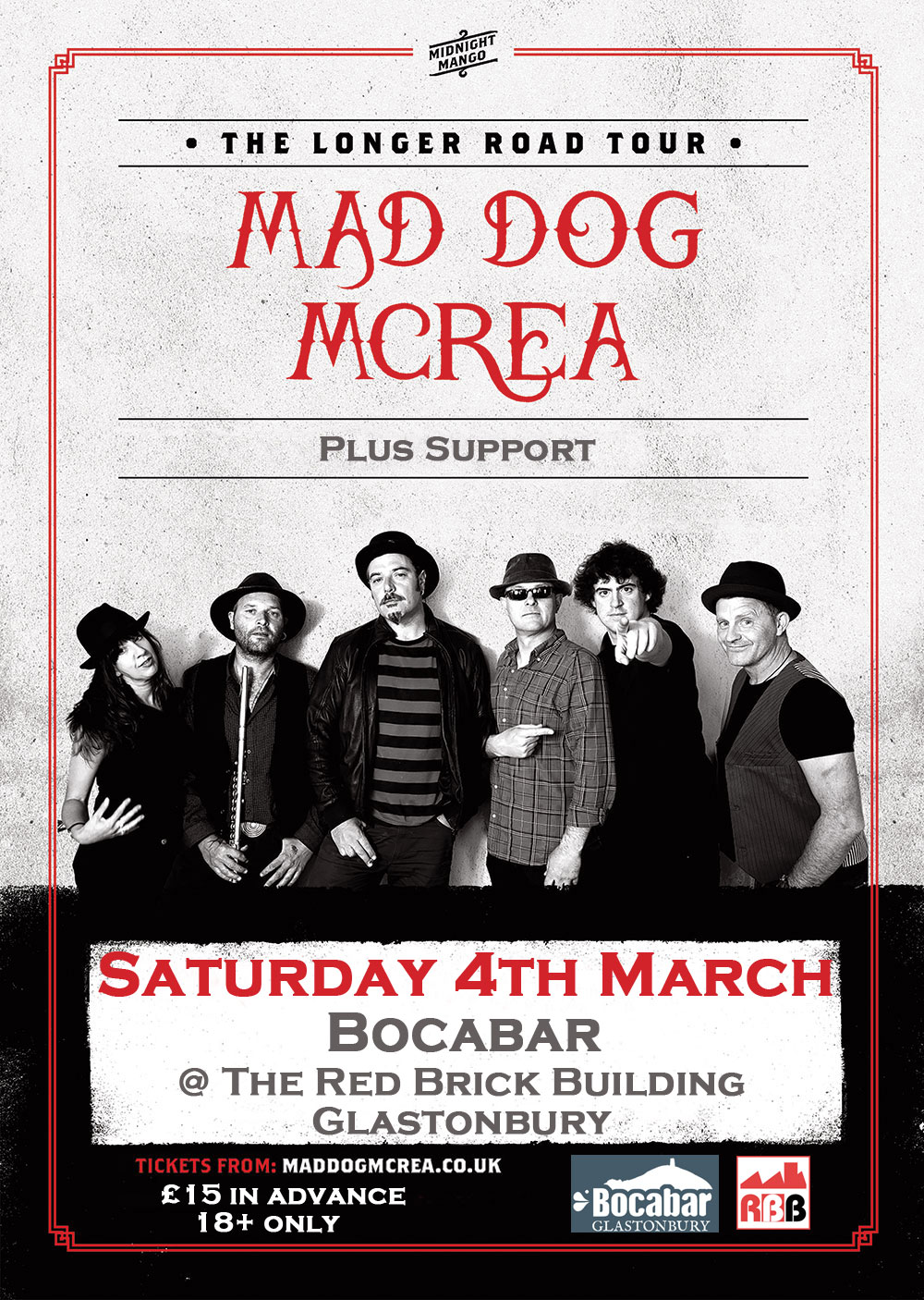 MAD DOG MCREA + Support @ Bocabar, Glastonbury
