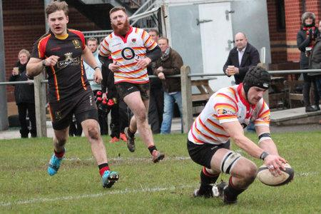 TRY SCORER: Ethan Trebble-Westlake (right) was on the scoresheet for Bridgwater & Albion at Devonsport Services.