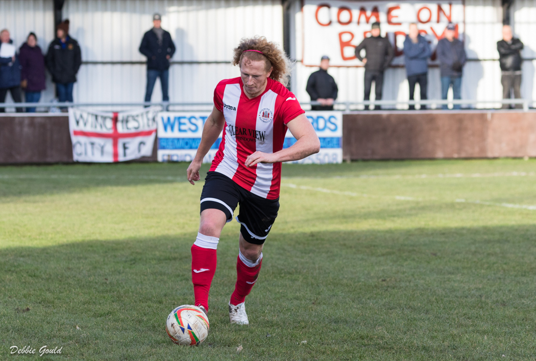 ON THE SPOT: Tyne Govier scored from the penalty spot to equalise for Bridgwater Town against Melksham Town. Pic: Debbie Gould