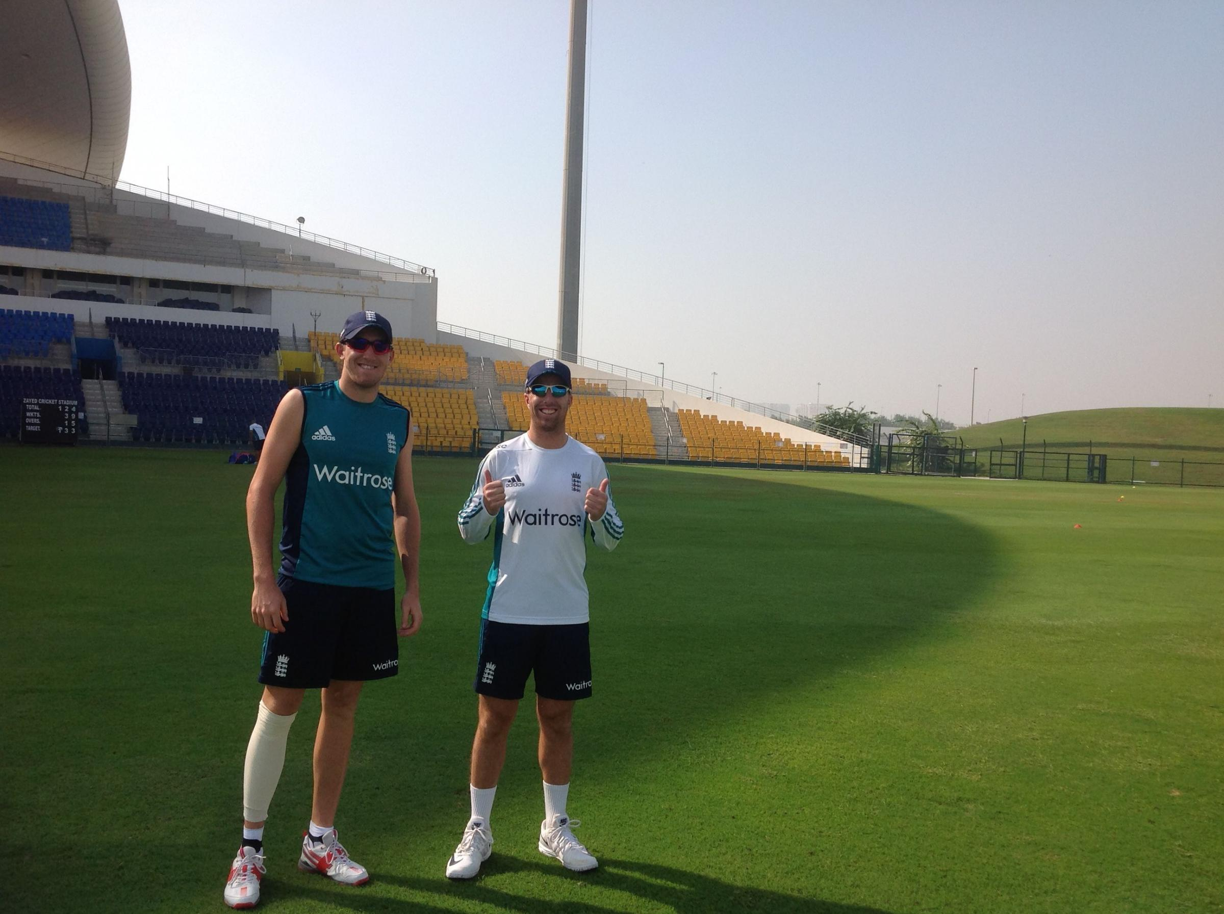 LIONS: Craig Overton and Jack Leach together on a previous Lions tour in Sri Lanka.