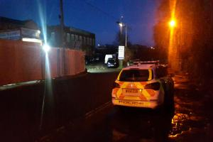 PROBE: Police outside the Canal Road property in Taunton