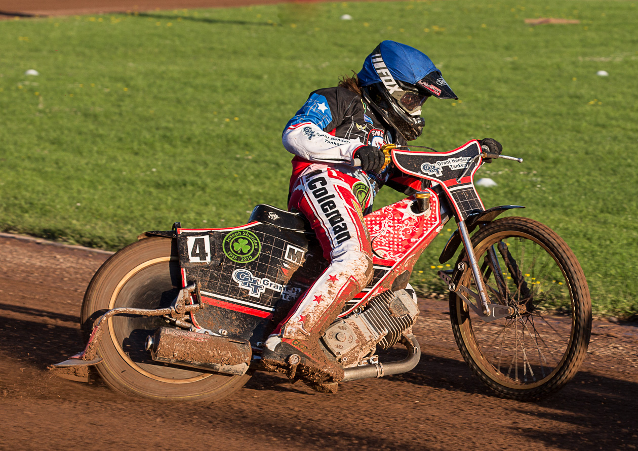 HIGHLIGHT: Richard Lawson claimed three wins on a grim night for Somerset Rebels Speedway. Pic: Colin Burnett