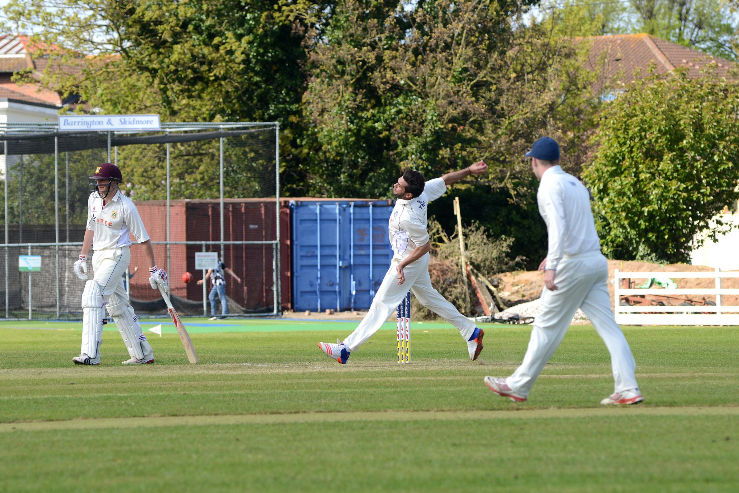 MATCH-WINNER: Chris Skidmore (above, bowling) was the hero with the bat for Bridgwater on Saturday.