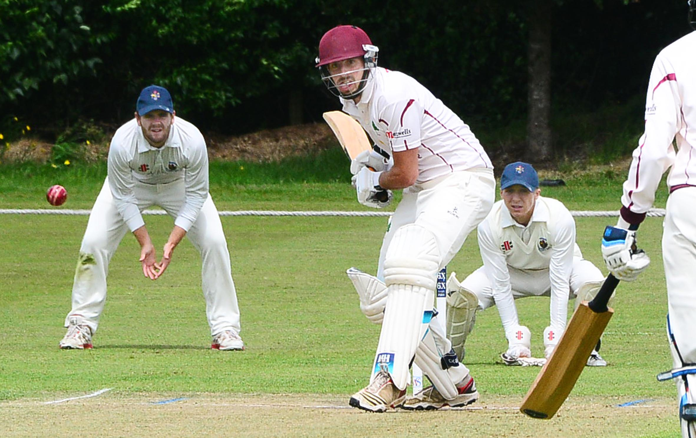SHOT: Shapwick & Polden opener Sam Edmunds in action on Saturday.